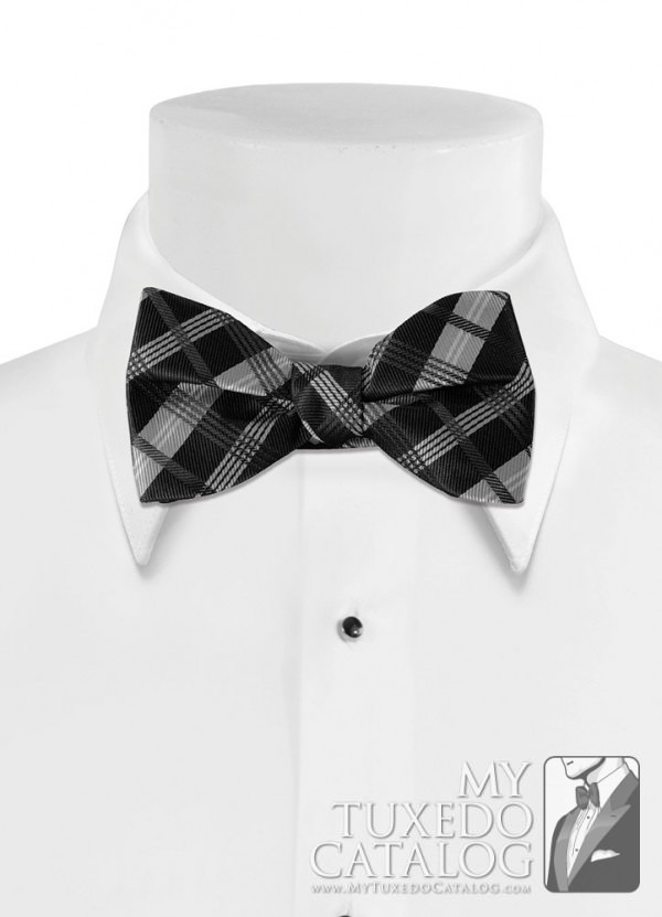 Black 'Solid Plaid' Bow Tie