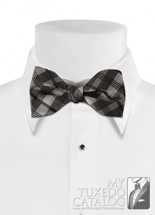 Charcoal 'Solid Plaid' Bow Tie