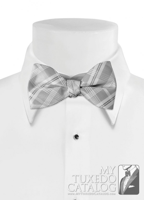 Silver 'Solid Plaid' Bow Tie