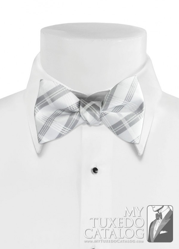 White 'Solid Plaid' Bow Tie