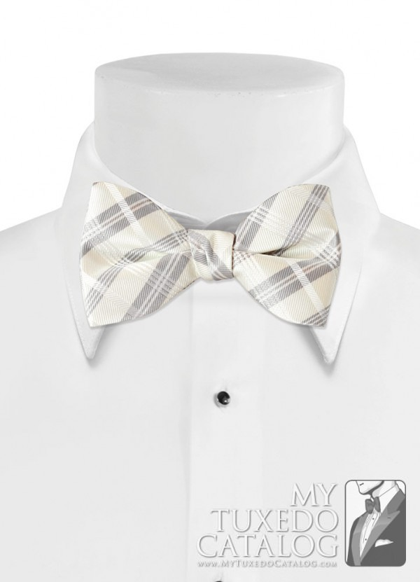 Ivory 'Solid Plaid' Bow Tie