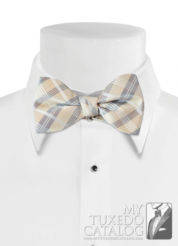 Champagne 'Solid Plaid' Bow Tie