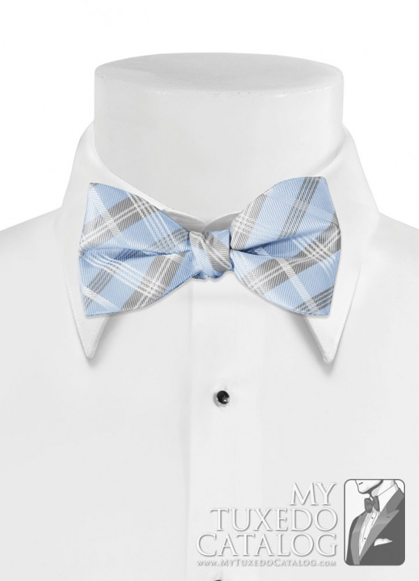 Light Blue 'Solid Plaid' Bow Tie