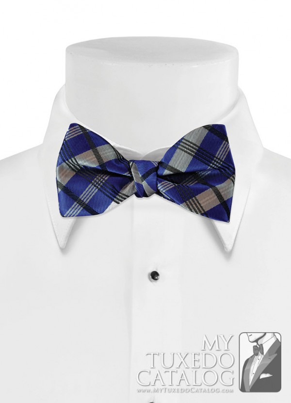 Royal Blue 'Solid Plaid' Bow Tie