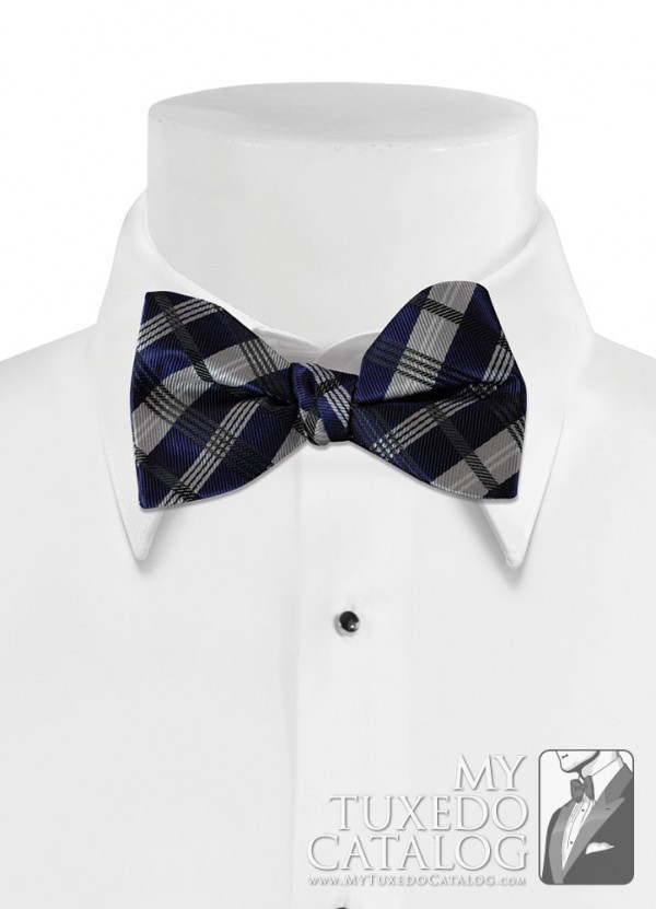 Marine Blue 'Solid Plaid' Bow Tie