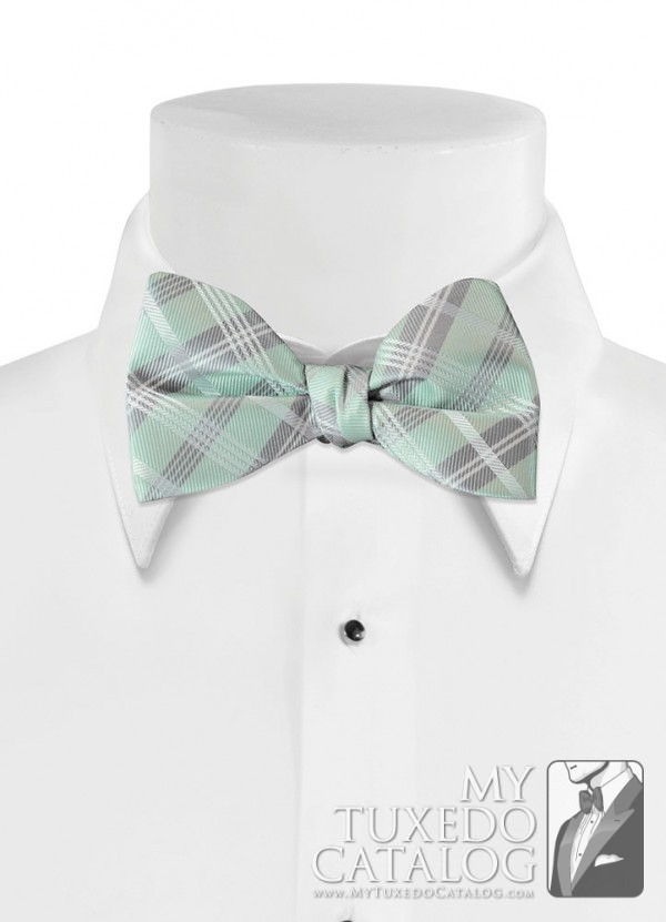 Light Mint 'Solid Plaid' Bow Tie