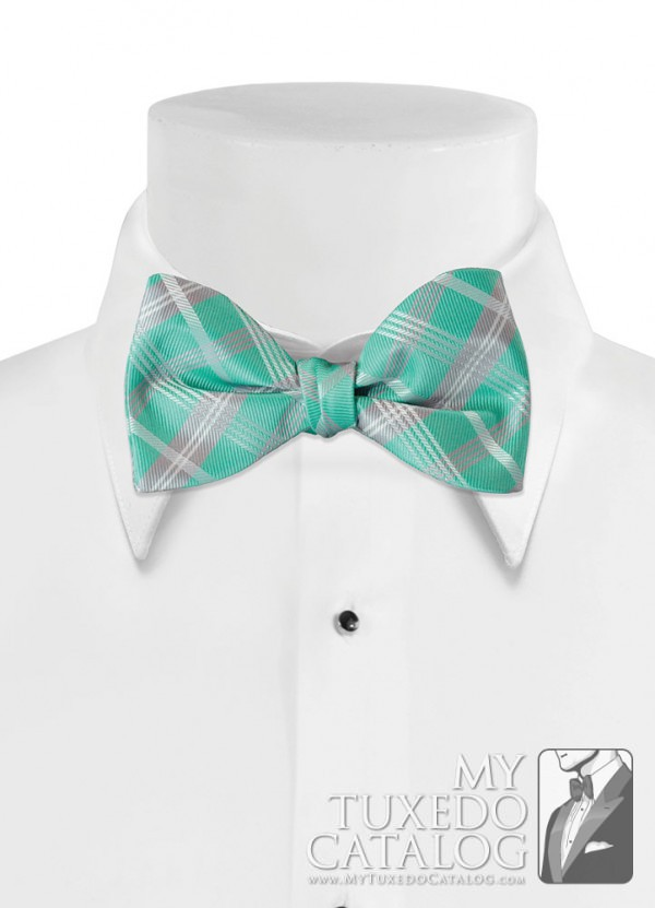 Mermaid 'Solid Plaid' Bow Tie