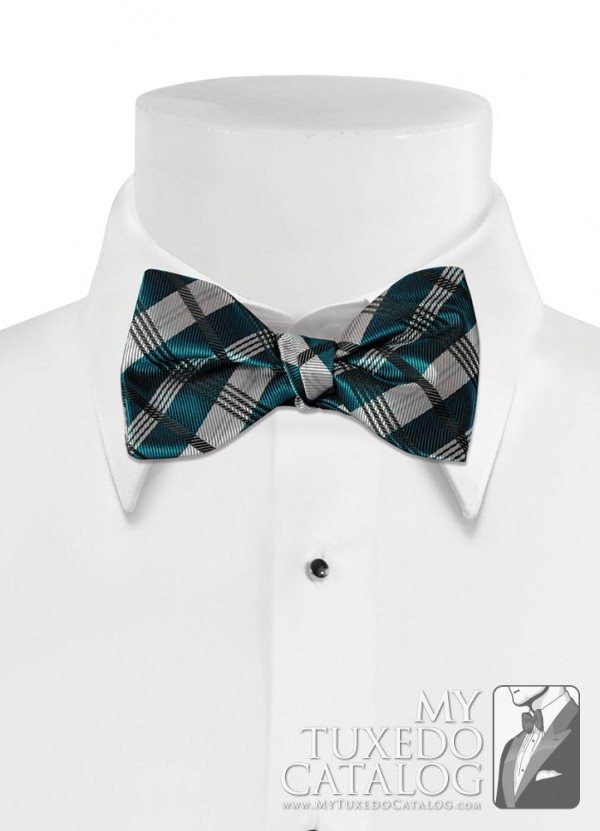 Peacock 'Solid Plaid' Bow Tie