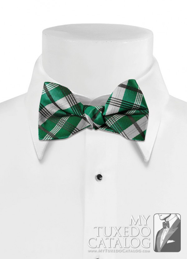 Emerald 'Solid Plaid' Bow Tie