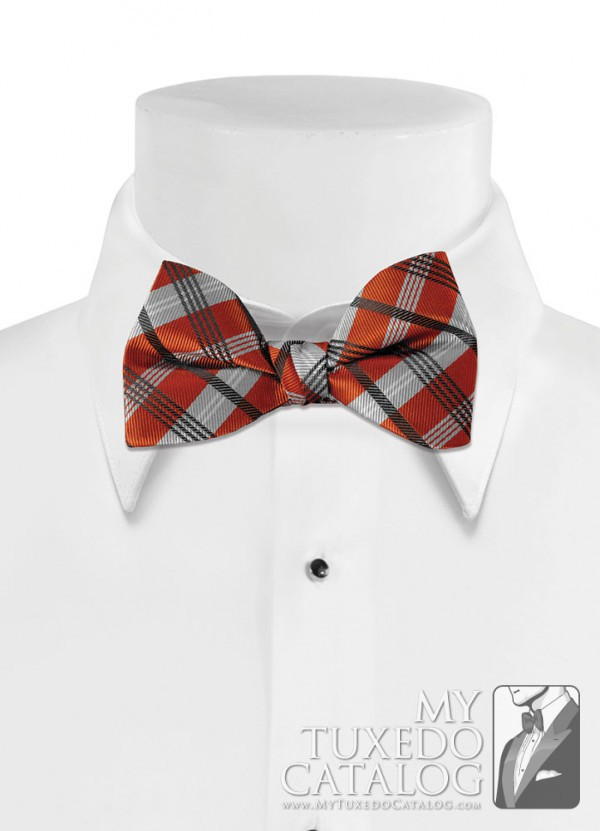 Burnt Orange 'Solid Plaid' Bow Tie