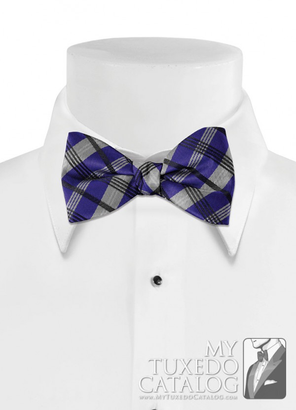 Blue Violet 'Solid Plaid' Bow Tie