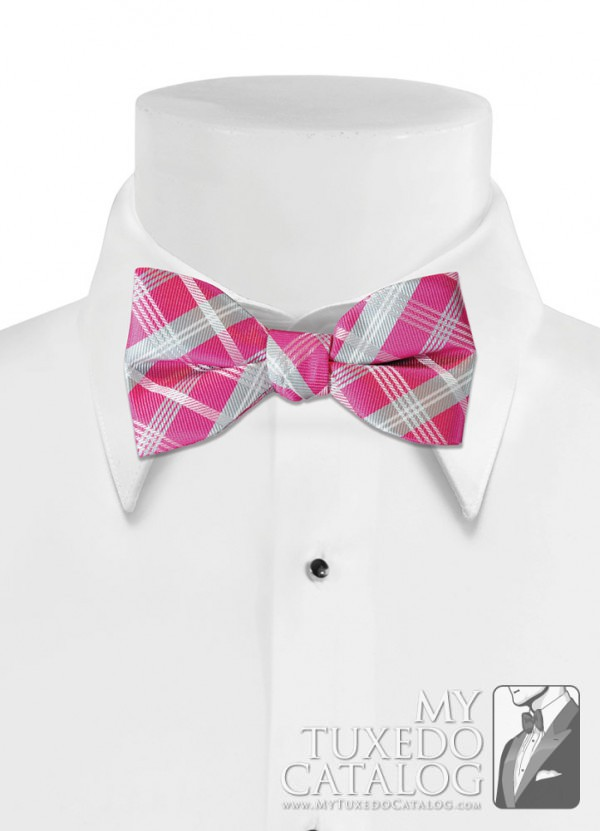 Bright Fuchsia 'Sold Plaid' Bow Tie