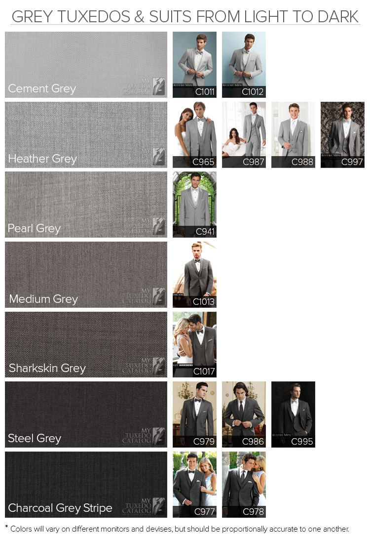 Grey Tuxedos and Suits from Light to Dark