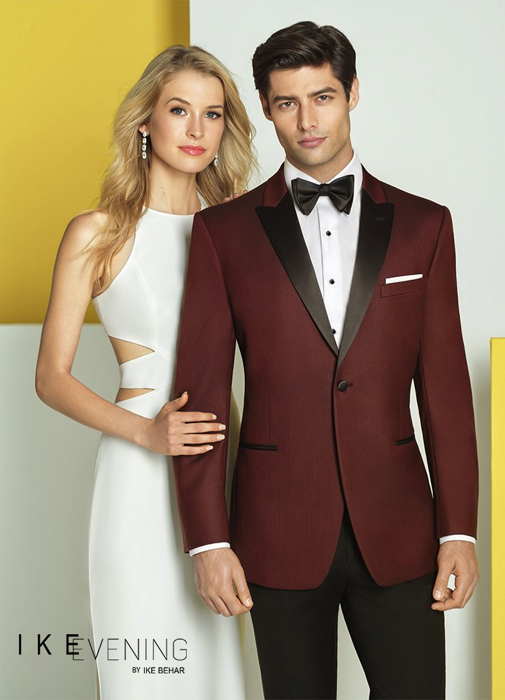 3bbe44c8798 In response to red carpet looks and sharp dressing professional sportsmen,  Ike Behar has made the burgundy 'Marbella' slim fit tuxedo!