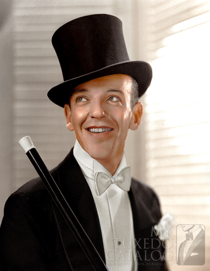 Colorized Fred Astaire in White Tie and Top Hat