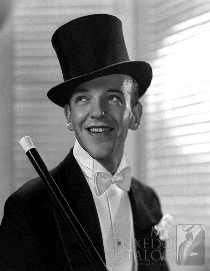 Black and White Fred Astaire in White Tie and Top Hat