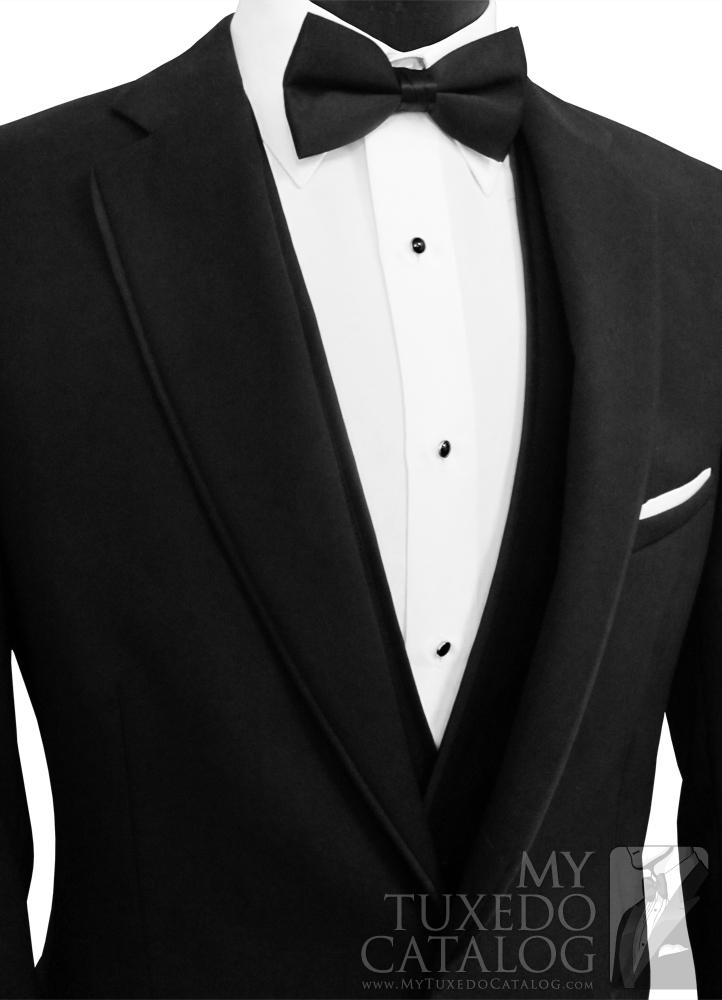 Black 'Allure Men' Tuxedo - Deep White 'V'