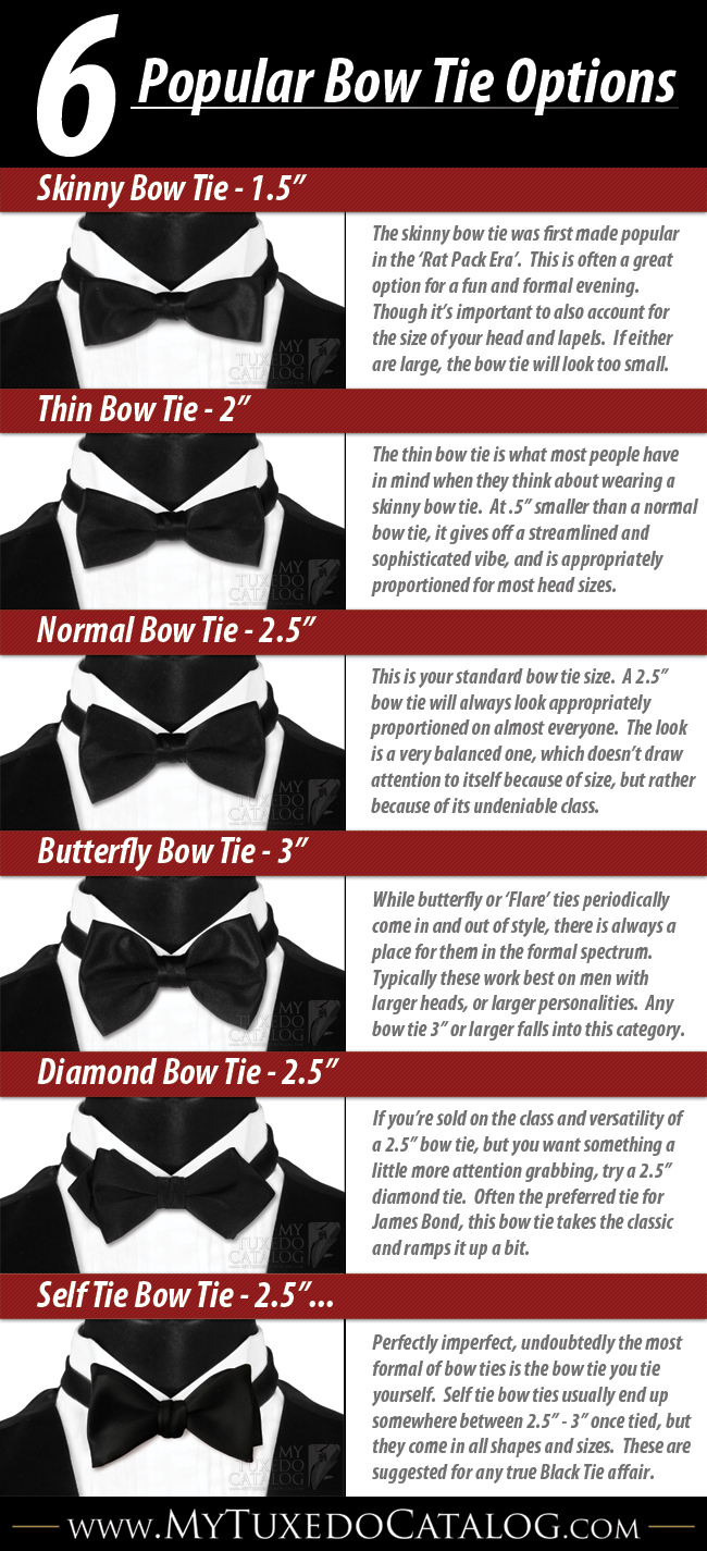 6 Popular Bow Tie Options Infographic