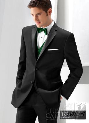 Black 'Parker' Slim Fit Tuxedo by Ike Behar