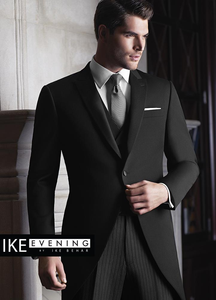 Black 'Wyatt' Cutaway Tuxedo by Ike Behar