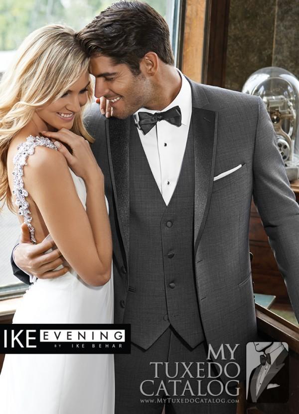 Sharkskin Grey 'Grayson' Slim Fit Tuxedo by Ike Behar