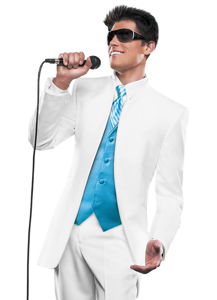 Light blue tuxedo jacket with black trim