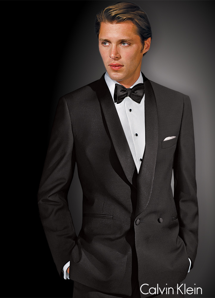 Black 'Allure' Double Breasted Tuxedo by Calvin Klein