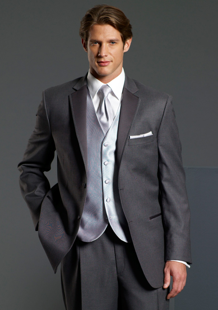Perry Ellis Evening Grey Stripe 'Madison' Tuxedo