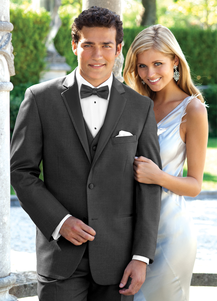 Charcoal Stripe 'Madison' Tuxedo by Perry Ellis