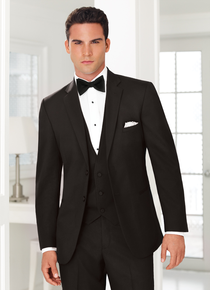 No.  This is a suit, not a tuxedo.  Also it has a 2 button front and a notch lapel.  None of these are Black Tie appropriate.