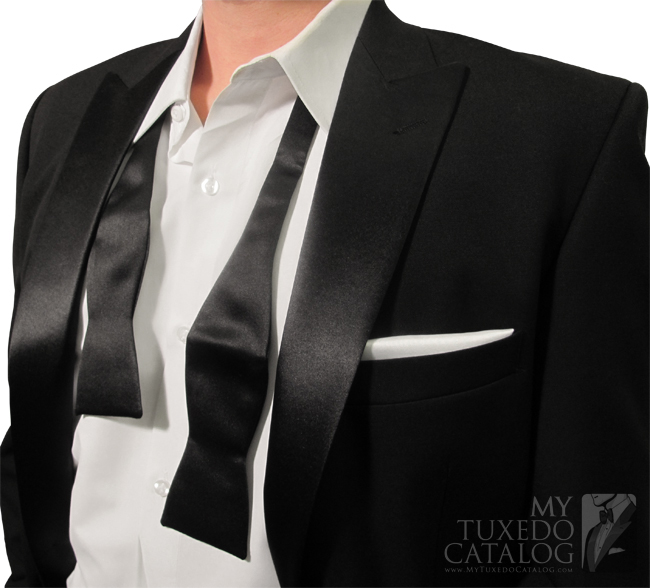 Close-up of the Satin Lapels and Bow Tie (After the Party)