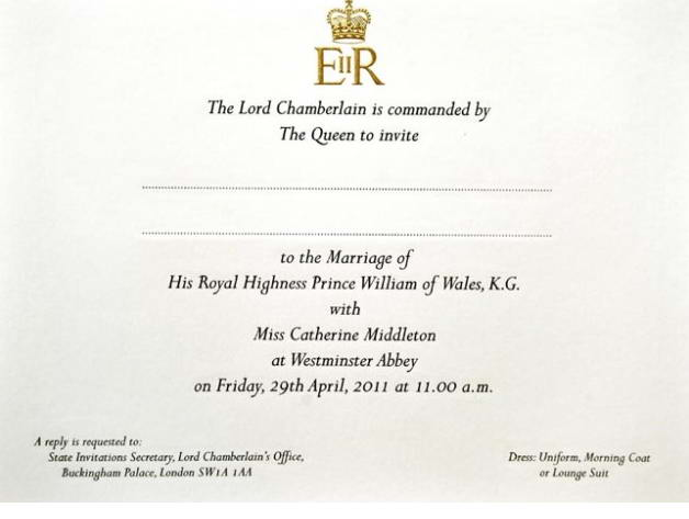 Invitation to the Royal Wedding and Dress Code