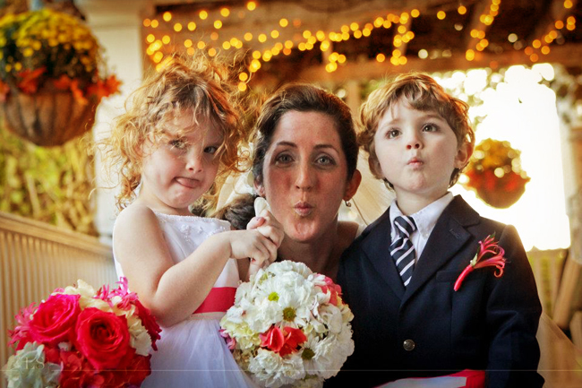 Flower Girl, Ring Bearer, and Bride at a Fall Wedding
