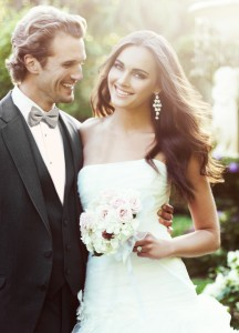 C995 Steel Grey Allure Men Tuxedo with Bride in Garden Wedding