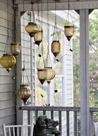 Garden Weddings: Decorative Hanging Bottles and Lamps