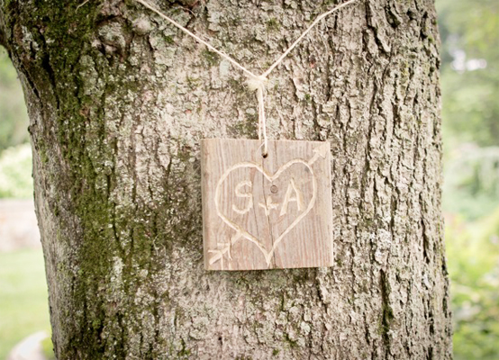 Garden Weddings: Couple Sign Hanging on Tree