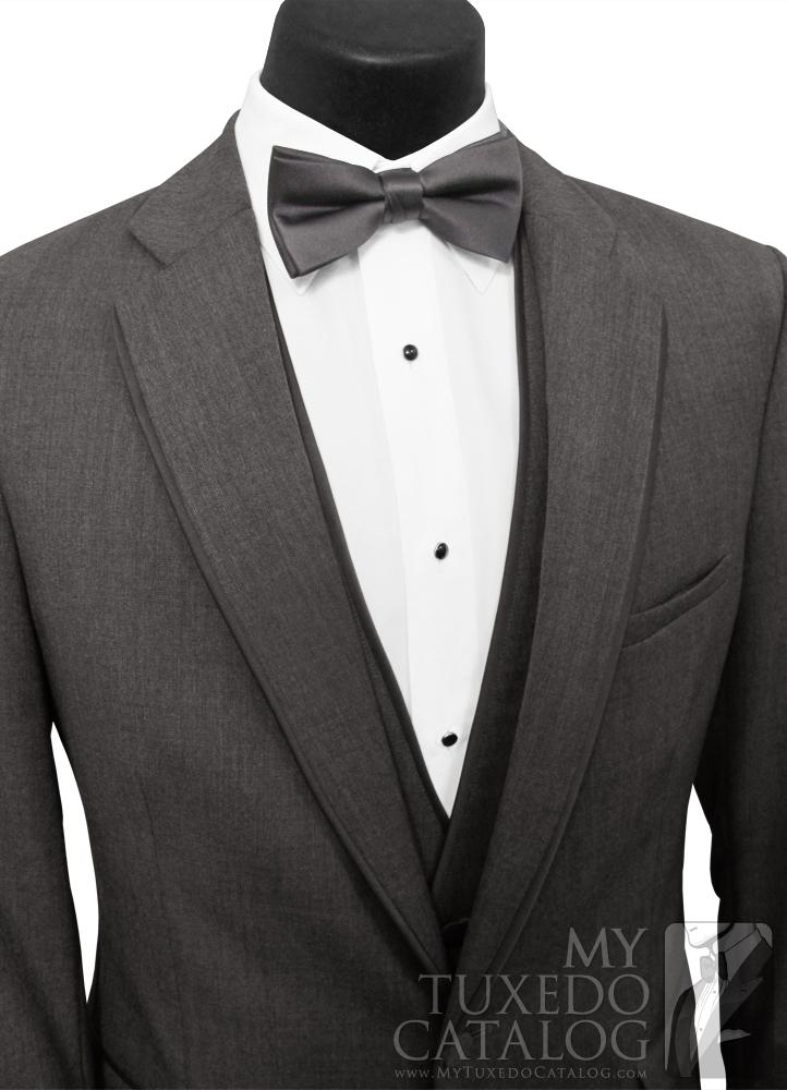 Steel Grey 'Allure Men' Tuxedo - Deep White 'V'
