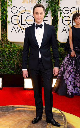 Jim Parsons in a link-front shawl collar tuxedo.