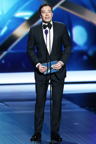 Jimmy Fallon in a Pitch Perfect One-Button Shawl Tuxedo