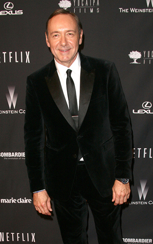 Kevin Spacey in a Velvet Tuxedo with Long Tie