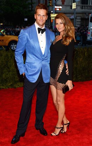 Tom Brady in a Blue Silk Dinner Jacket at the 2013 Met Gala
