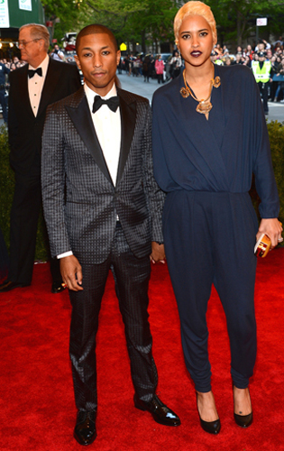 Pharrell Williams in a Grey Checkered Tuxedo at the 2013 Met Gala