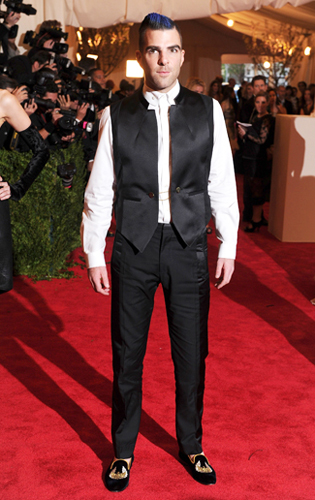 Zachary Quinto taking the Punk theme a step farther at the 2013 Met Gala