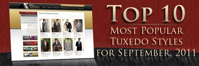 Top Ten Most Popular Tuxedo Rental Styles for September, 2011
