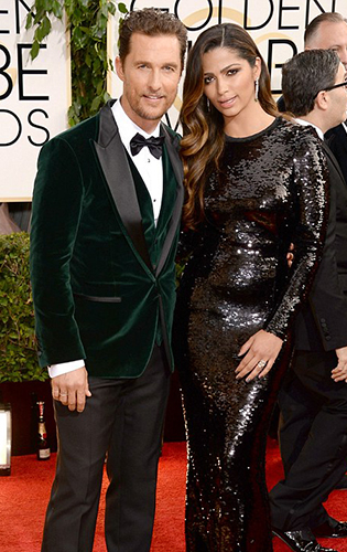 Matthew McConaughey in a green velvet dinner jacket.