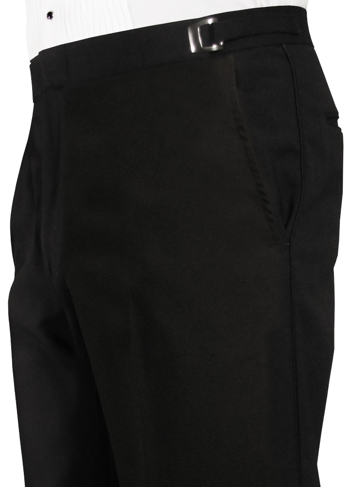 Black Flat Front Trousers by Jean Yves