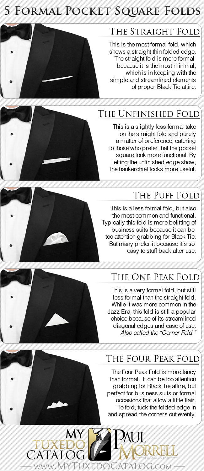 5 Common Formal Pocket Square Folds - Infographic