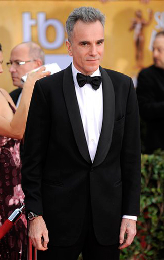Daniel Day Lewis in a Black Shawl Tuxedo for the 2013 SAG Awards.