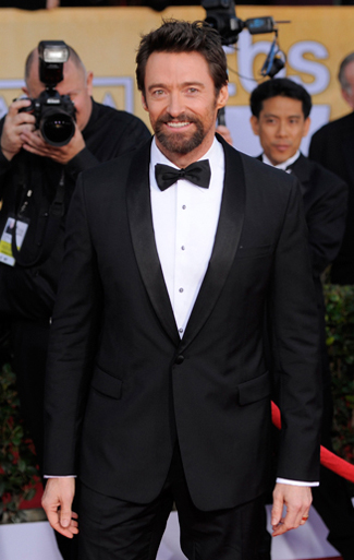 Hugh Jackman in a Black Shawl Tuxedo for the 2013 SAG Awards.