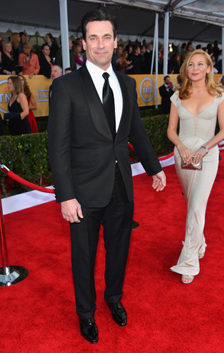 Jon Hamm in a Black Shawl Tuxedo with Long Tie for the 2013 SAG Awards